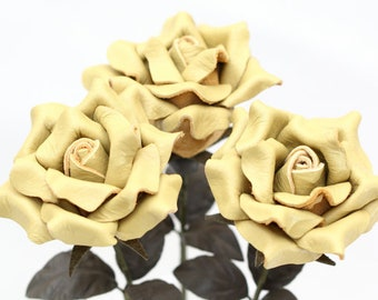 3 leather rose bouquet lemon yellow third Anniversary wedding gift Long Stem Flower 3rd Leather Anniversary Mother's Day Prom