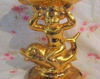 Bright gold, Hollywood Regency pedestal soap dish,  heavy ceramic Holland mold 60s - 70s