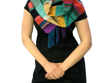 Krista | pidge pidge Rainbow Striped Woven Scarf | Soft & Cozy Handwoven Textile | Modern Weaving Gifts for Her | pidgepidge Accessory | J9