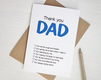 Thank you Dad Father's day card blue black print modern card for Dad for fathers