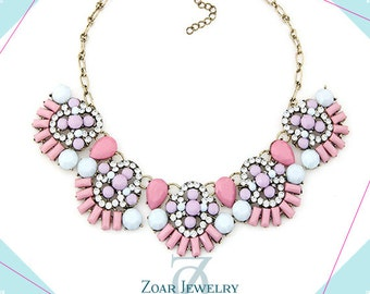Coral Pink Jewelry, pink statement necklace, Bohemian Necklace,  Fashion Party Necklace