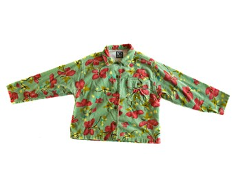 Vintage Jean Bourget kids girls shirt with flowers floral 100% cotton green red yellow multicolor size 6A/116