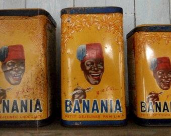 """Set of three """"BANANIA"""" vintage Tin boxes"""