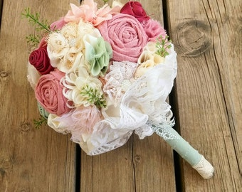 Boho bridal bouquet, boho chic wedding bouquet, bohemian wedding