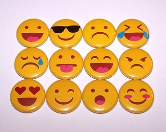 """Emoji Smiley Faces Pins (12 Pack), Emoticons Pinbacks, 1"""" or 1.5"""" or 2.25"""" Pin Back Buttons or Magnets, Emotions, Expressions"""