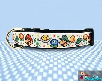 "Paper Mario 1"" Wide Dog Collar"
