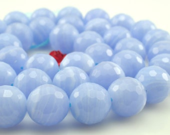 Blue lace agate faceted round beads in 10mm 39pcs