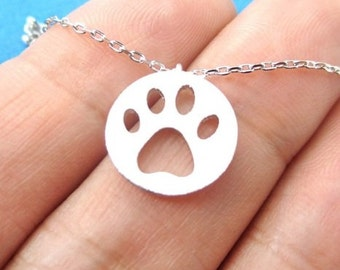 Dainty Paw Print Charm Necklace Dog Lover Necklace Dog Lover Jewelry