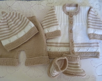 READY TO SHIP, Baby Boy Outfit, Knitted Baby Set, Coming Home Suit, Take Home Set, Baby Shower Gift, Christmas Baby Gift, Camel White Set.