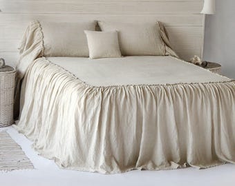 Linen Dust Ruffle Coverlet Bedspread Stone Washed Super Soft 100% European Flax Natural Organic Silky Stone Village Coll. HOT SPRING SALES!