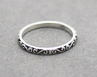 Filigree Ring / Oxidized Silver Filigree Ring/ Silver Filigree ring