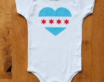 Chicago Baby Bodysuit, Chicago Flag, Chicago Baby Onesie, Screen printed, Baby Gift ,3-6m, 6-12 mo, 12-18mo by Sweetpea and Co.