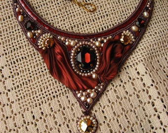 Bead embroidery necklace statement necklace  Shibori silk  crystals  OOAK necklace  burgundy  rose gold