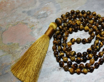 Tiger Eye Jewelry, Tiger Eye Mala, Tiger Eye Mala Beads, Yoga Jewelry, Yoga Jewelry Necklace, Yoga Jewelry Mala, Mala for Stress, Mala Beads