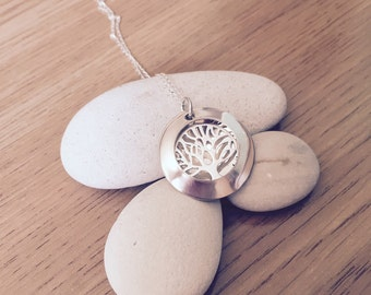 Sterling Silver Tree of Life Locket Necklace Personalised Hand Stamped