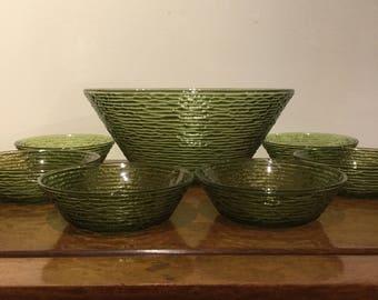 Vintage Anchor Hocking Green Serono Salad Bowl Set Mid Century Serving Set Rippled Glass Unique Salad Bowls