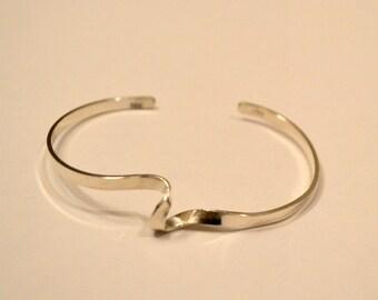 "Sterling silver cuff bracelet.  adjustable stackable bracelet   ""a little twisted"""