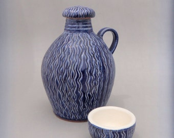 Ceramic Whiskey Jug With Lid and Shot Glass - Handmade Glazed Blue - Terracotta Pottery - FREE Shipping!