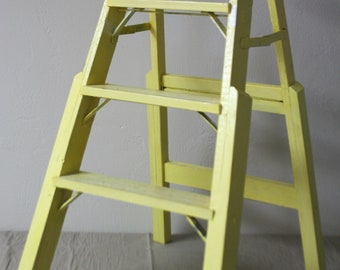 "Vintage ""Step Ladder"" ""Yellow Step Ladder"" Decorative Step Ladder ""Stepladder"" Vintage Wood Step Ladder ""Vintage Decorative Ladder"" ""Ladder"""