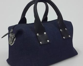 Dark blue denim doctor bag.Top handle bag.
