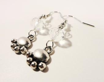 Bear Paw Earrings, Clear Crystal Bead Earrings, Beaded Dangle Earrings, Animal Charm Earrings, Beadwork Earrings, Silver Drop Earrings