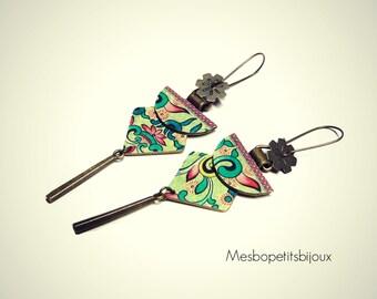 long earrings elegant, lotus Japanese inspired