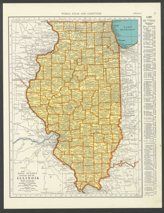 Vintage map illinois from 1937 original gumiabroncs Image collections