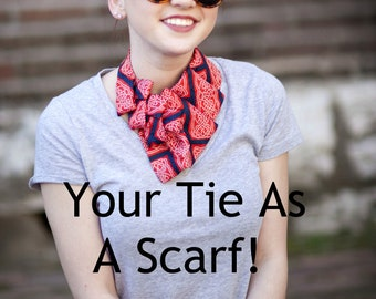 Custom Necktie Scarf - Made to Order Necktie Necklace - Gift For Her - Custom Gift - Gift for Mom - Memorial Gift - Custom Birthday Gift.