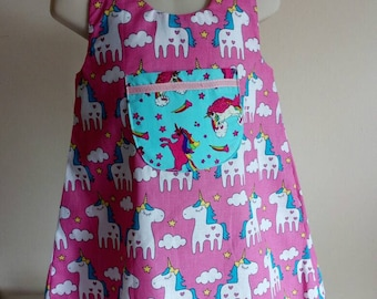 Pink unicorns A line dress 3 years old