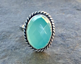 Aqua Chalcedony ring with hammered band