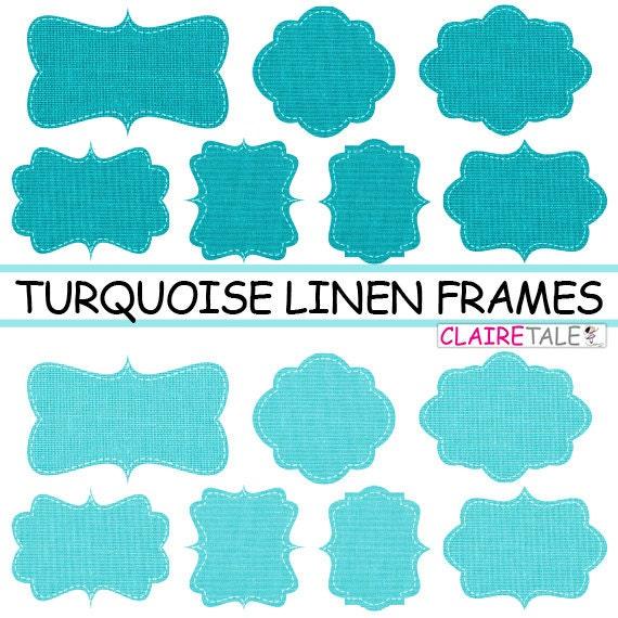 Linen / burlap frames clipart: TURQUOISE LINEN