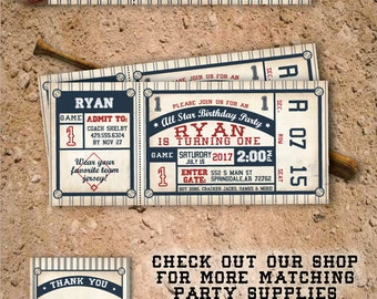 Baseball Invitation. Baseball Birthday Invitation. Baseball Birthday Party. Baseball Ticket Invitation. DIY Printable OR Printed Invitation