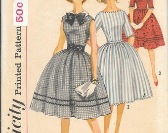 Vintage 1960s Simplicity 3528 Dress With Full Skirt Sewing Pattern Size 12 Bust 32