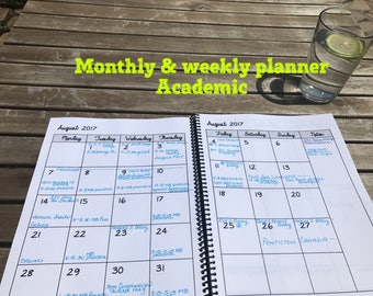 Monthly & Weekly Planner Academic Year Aug 2017 - July 2018