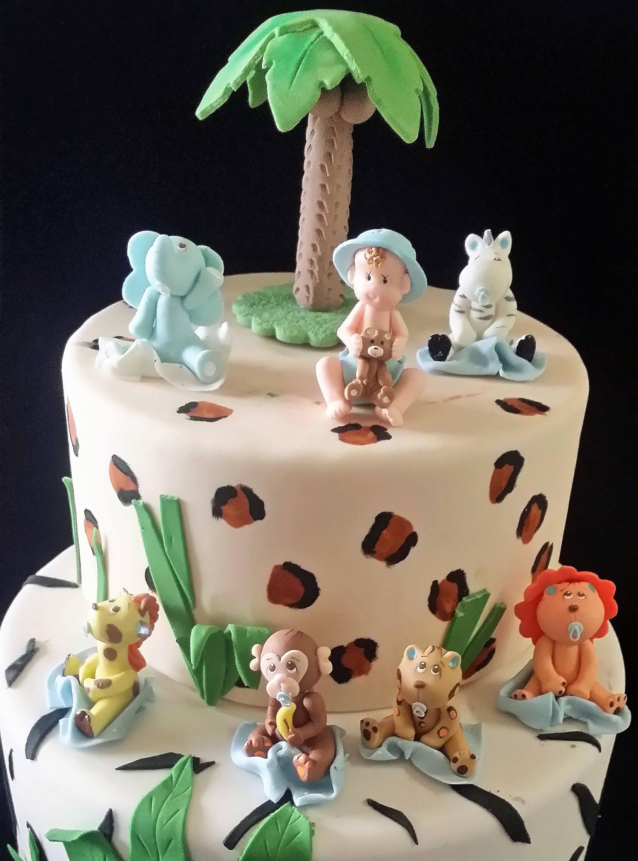 Baby Jungle Animals Girls Safari Cake Topper Pink Jungle