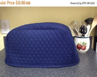 Navy Blue 4 Slice Toaster Cover Kitchen Quilted Fabric Small Appliance Cover Ready to Ship Next Business Day