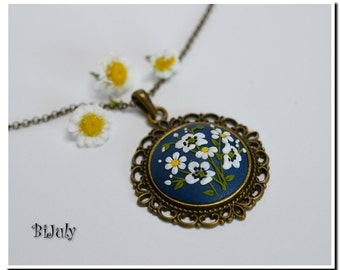 Blue Pendant  White Poppies Necklace Floral Jewelry Feminine Necklace Polymer Clay Applique Floral Embroidery Filigree Necklace Gift for Her