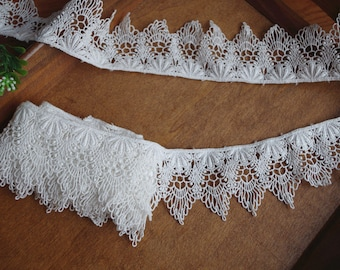 off white cotton lace trim by the yard