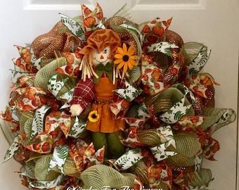 Fall wreath, scarecrow wreath, front door wreath, fall deco mesh wreath, fall scarecrow wreath