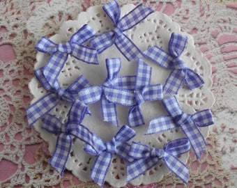 Bow purple and white gingham polyester 3.00 cm width (per 10 knots)