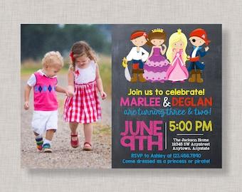 Princess and Pirate Invitation, Princess and Pirate Party Invitation, Princess and Pirate Party, Princess and Pirate Birthday Invitation