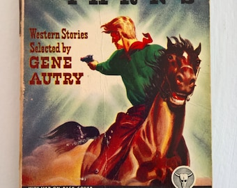 CLEARANCE Gun Smoke Yarns --- Western Stories Selected by Gene Autry -- Vintage Wild West Stories Book Summer Reading Adventure Cowboy Tales