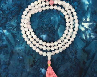 Rose Quartz Mala Bead Necklace w Rhodonite and Silk - Love and Compassion  Buddhist Rosary