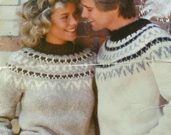 Knitting Pattern Sweater Elena White Buffalo A 2011 Men Women Nordic Icelandic Bulky Weight Yarn Vintage Paper Original not PDF