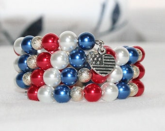 4th of July, Red, White and Blue Bracelet,  Memory Wire Bracelet, Wrap Bracelet, Pearl Bracelet,  Women's Jewelry, Americana, Patriotic