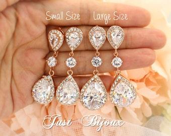 Wedding Earrings Rose gold plated Zirconia Earrings Wedding Jewelry Bridal Earring Bridesmaid Gift Wedding Jewelry Teardrop Earrings leaf