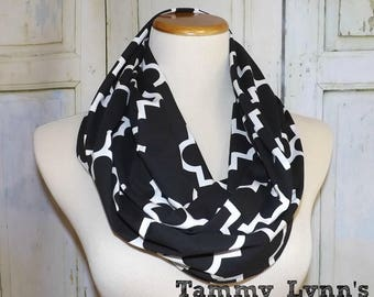 Adult Quatrefoil Black and White Infinity Scarf Jersey Knit Scarf Women's Accessories