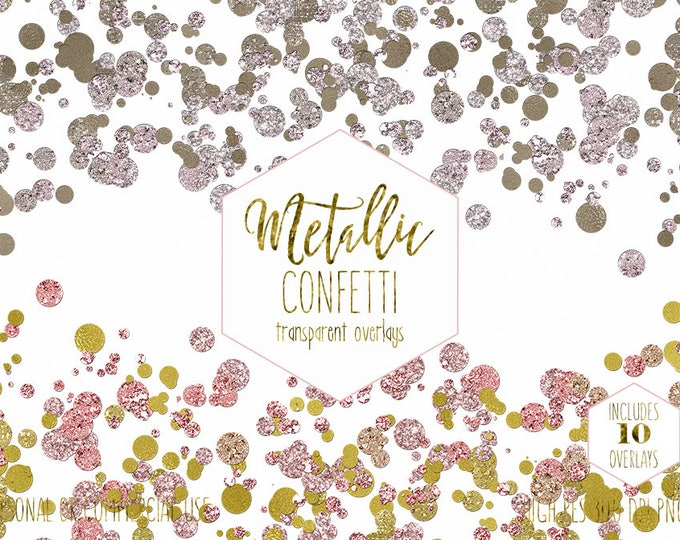 GOLD CONFETTI BORDERS Clipart for Commercial Use Clip Art Rose Gold Transparent Overlays Metallic Wedding Invitation Party Digital Graphics