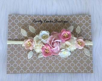 Flower Headband, Pink and white flower headband, Flower Girl Headband, Baby flower halo