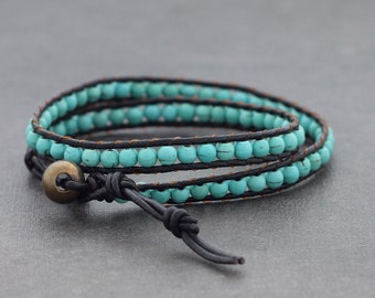 Turquoise Beaded Bracelets Double Wrap Leather Bracelets Woven Boho Hipster Stone Bracelets